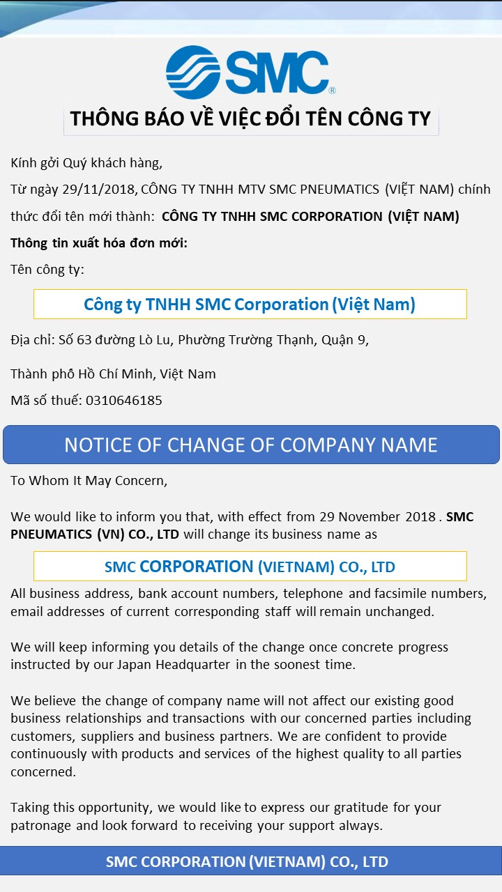 Notice for changing company name-VN